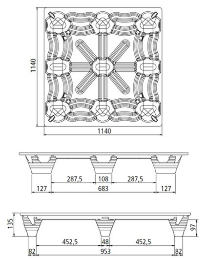 екопресовани дървесни палета чертеж 1140х1140